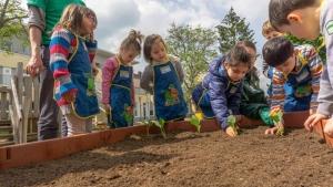 Mehrere Kinder bepflanzen das Hochbeet