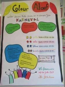Buntes Plakat mit Infos zur Karnevalsparty zu Altweiber