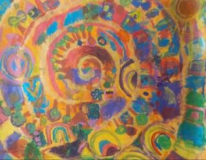 Große bunte Spirale