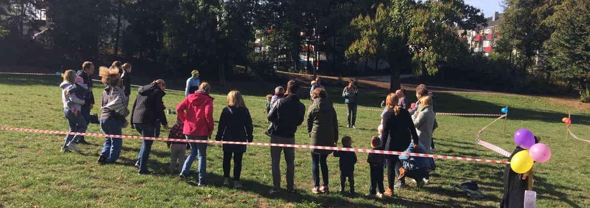 Start und Ziel im des Spendenlaufs im Weidenpescher Park